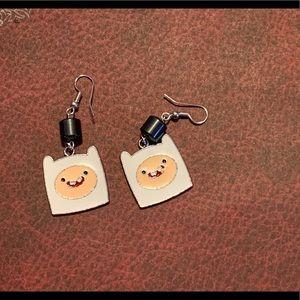 3/$30 Adventure Time Finn Hematite Earrings